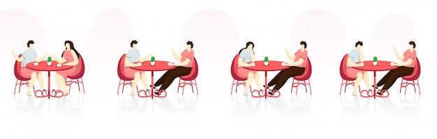 Conjunto de caracteres de jovens no café.