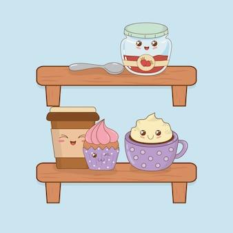 Conjunto de caracteres de kawaii de comida de padaria