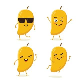 Conjunto de caracteres de manga fruta em emoção de ação diferente
