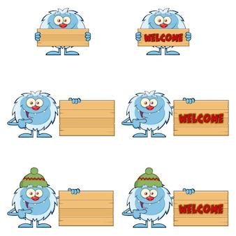Conjunto de caracteres de mascote bonito dos desenhos animados yeti