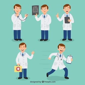 Conjunto de caracteres de médico de cinco