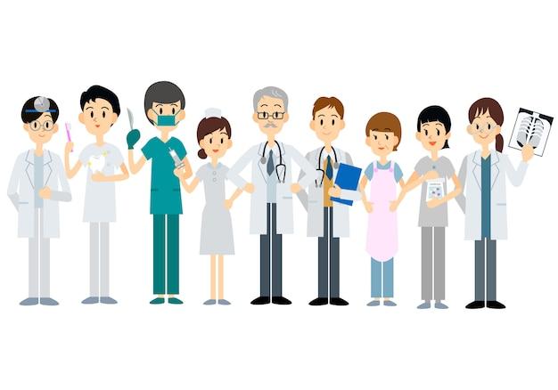 Conjunto de caracteres de médico de equipe médica