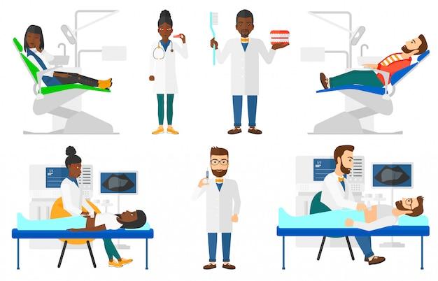 Conjunto de caracteres de médico e pacientes.