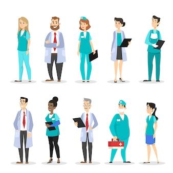 Conjunto de caracteres de médico. equipe médica profissional de uniforme.