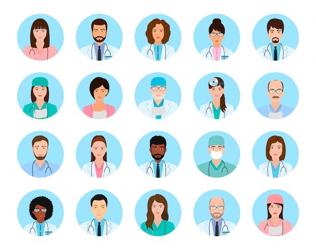 Conjunto de caracteres de médicos e enfermeiros de avatares. ícones de pessoas médicas de rostos em um azul.