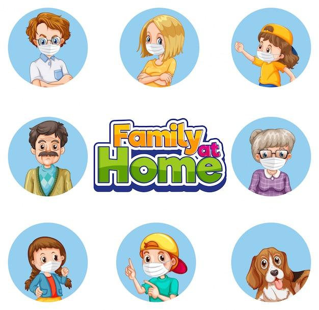 Conjunto de caracteres de membro da família