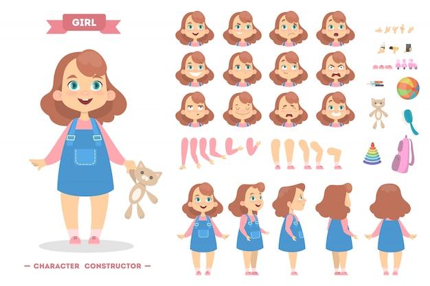 Conjunto de caracteres de menina com poses e emoções.