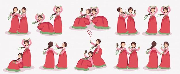Conjunto de caracteres de menina coreana. vestido feminino em hanbok. emoções e gestos.