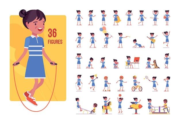 Conjunto de caracteres de menina de 7 a 9 anos