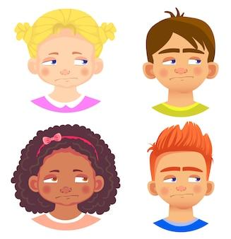 Conjunto de caracteres de meninas e meninos