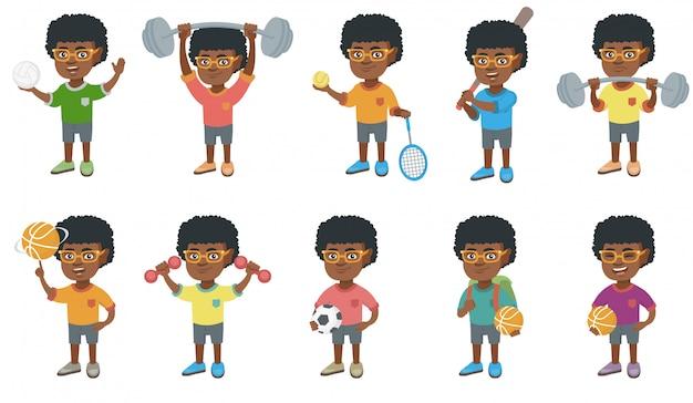 Conjunto de caracteres de menino africano