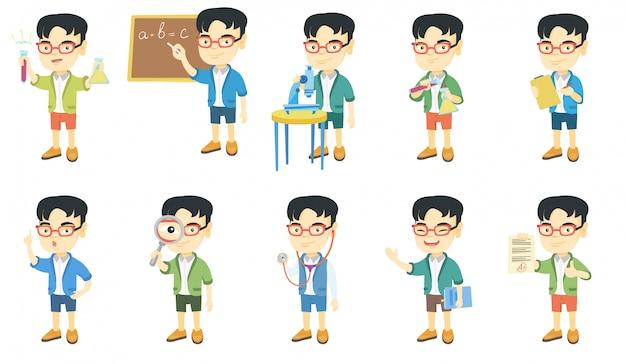 Conjunto de caracteres de menino asiático