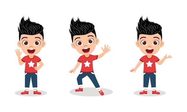 Conjunto de caracteres de menino bonito, isolado com diferentes expressões de emoção e ações