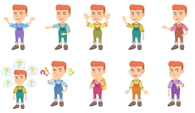 Conjunto de caracteres de menino caucasiano