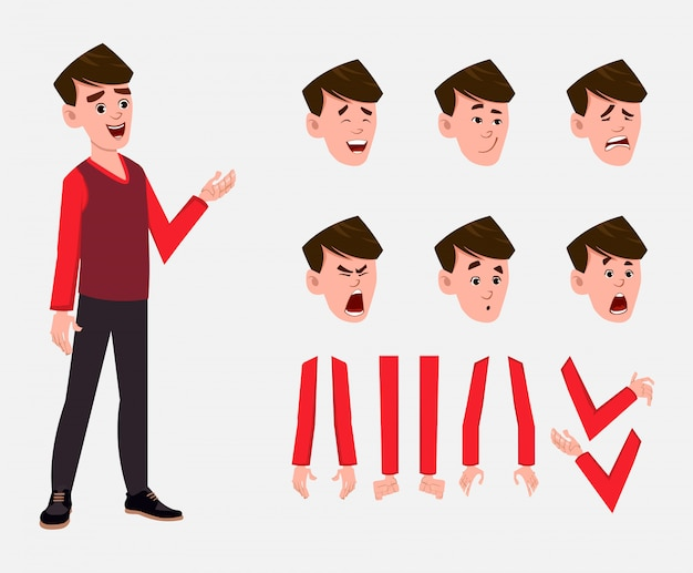 Conjunto de caracteres de menino dos desenhos animados para sua animação, design ou movimento com diferentes emoções faciais e mãos.