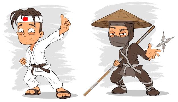 Conjunto de caracteres de menino e ninja de karatê dos desenhos animados