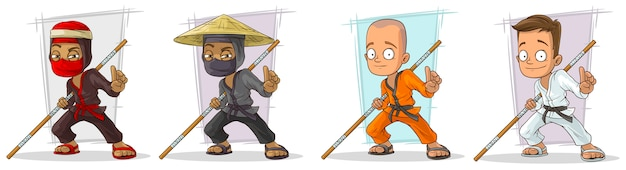 Conjunto de caracteres de menino e ninja karatê dos desenhos animados