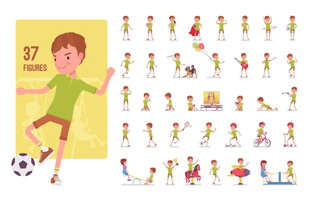Conjunto de caracteres de menino menino de 7 a 9 anos