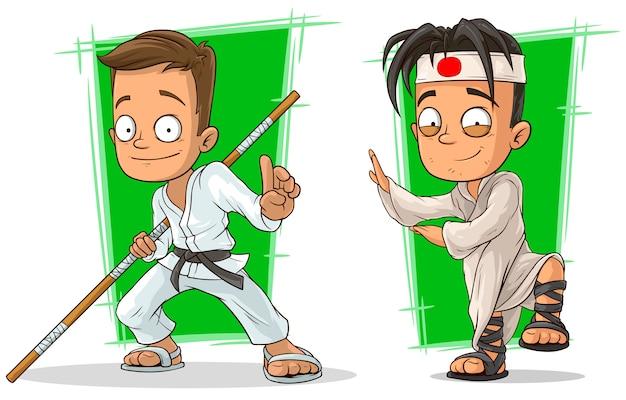 Conjunto de caracteres de meninos de kung fu dos desenhos animados