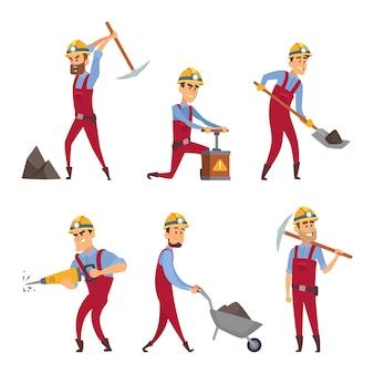 Conjunto de caracteres de mineiros. personagens de desenhos animados