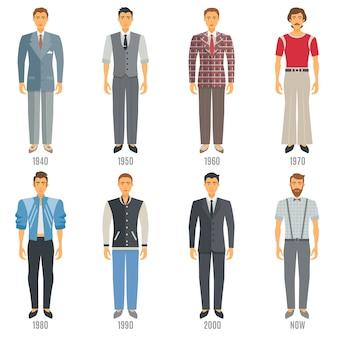 Conjunto de caracteres de moda masculina evolução