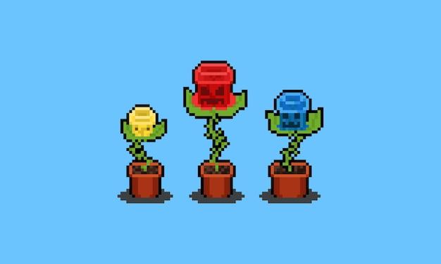 Conjunto de caracteres de monstro de flor de pixel art.