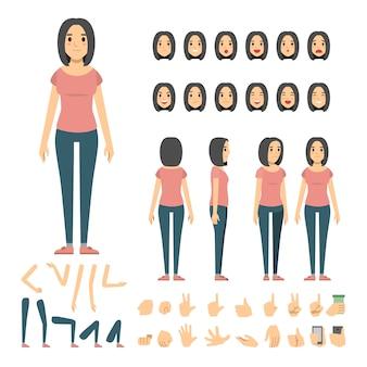 Conjunto de caracteres de mulher casual