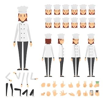 Conjunto de caracteres de mulher de chef
