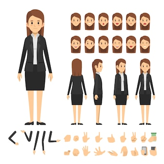 Conjunto de caracteres de mulher de negócios