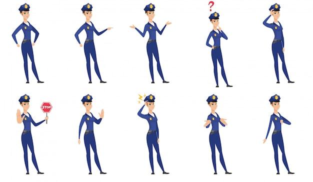 Conjunto de caracteres de mulher de polícia.