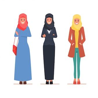 Conjunto de caracteres de mulheres árabes