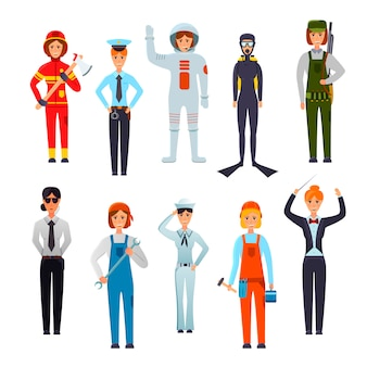 Conjunto de caracteres de mulheres profissionais