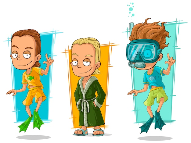 Conjunto de caracteres de nadador sorridente mergulhador dos desenhos animados