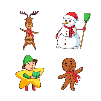 Conjunto de caracteres de natal mão desenhada