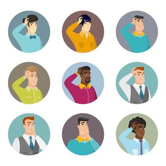 Conjunto de caracteres de negócios no círculo.