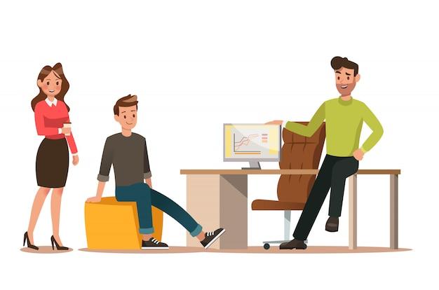 Conjunto de caracteres de negócios trabalhando no escritório