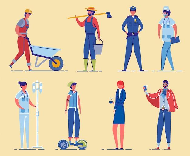 Conjunto de caracteres de ocupações profissionais.