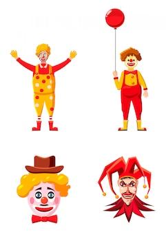 Conjunto de caracteres de palhaço. caricatura, jogo, de, palhaço