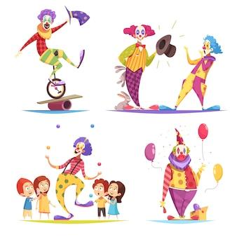 Conjunto de caracteres de palhaços