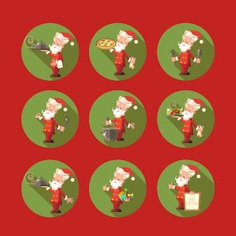 Conjunto de caracteres de papai noel no vermelho