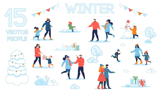 Conjunto de caracteres de pessoas com cenas de inverno