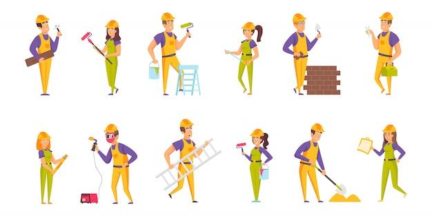 Conjunto de caracteres de pessoas construtores plana