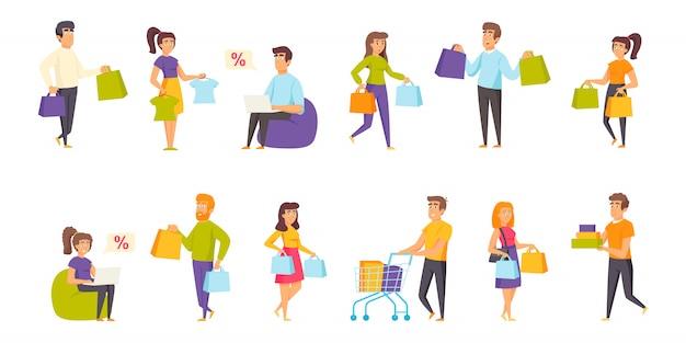 Conjunto de caracteres de pessoas de compradores plana