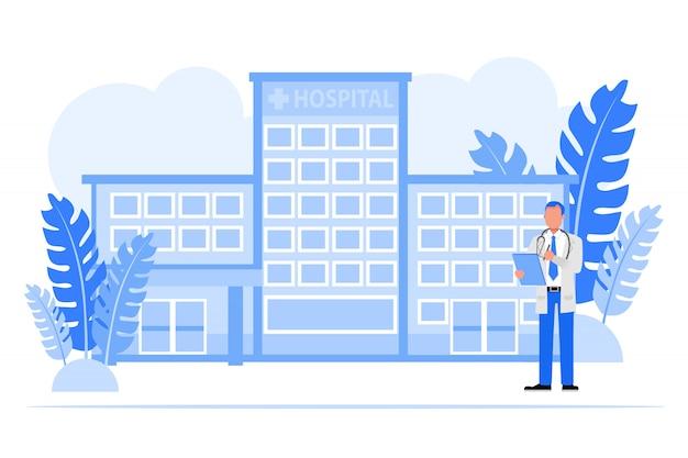 Conjunto de caracteres de pessoas de negócios. conceito de hospital de empresário.