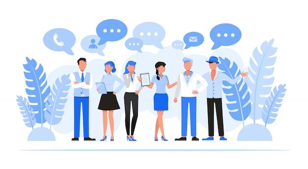 Conjunto de caracteres de pessoas de negócios. conceito de rede de negócios.