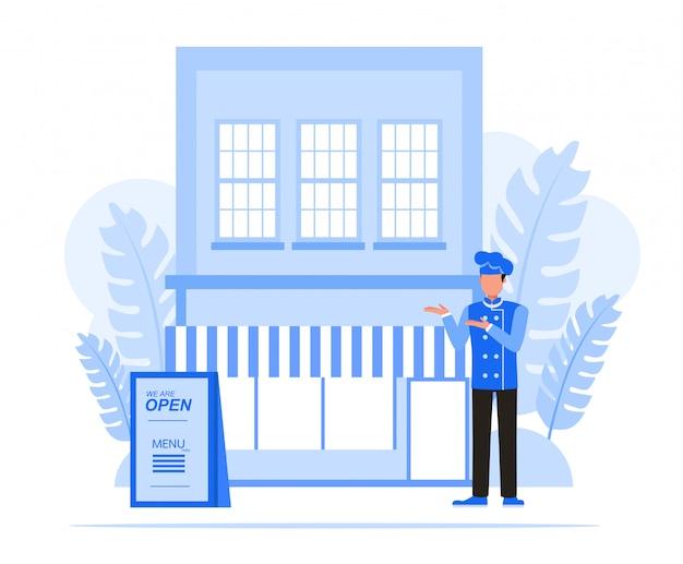 Conjunto de caracteres de pessoas de negócios. conceito de restaurante do empresário.
