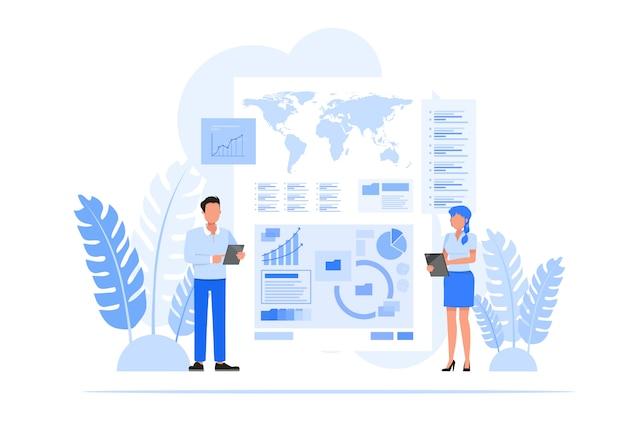 Conjunto de caracteres de pessoas de negócios. consultoria para desempenho da empresa, conceito de análise.