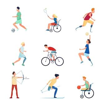 Conjunto de caracteres de pessoas diferentes em jogos de esporte paraolímpicos