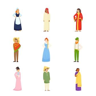 Conjunto de caracteres de pessoas diferentes em roupas coloridas nacionais