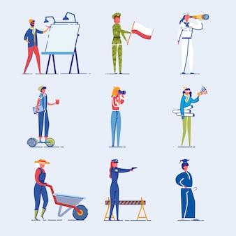 Conjunto de caracteres de pessoas diversas ocupação e idade.